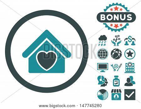 Hospice icon with bonus pictogram. Vector illustration style is flat iconic bicolor symbols, soft blue colors, white background.