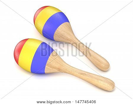 Wooden toy maracas. 3D render illustration isolated on white background