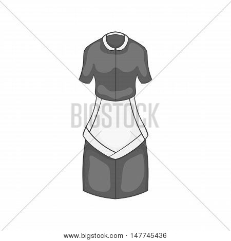 Maid costume icon in black monochrome style isolated on white background. House cleaning symbol vector illustration