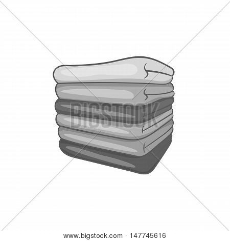 Pile of towels icon in black monochrome style isolated on white background. Home textiles symbol vector illustration