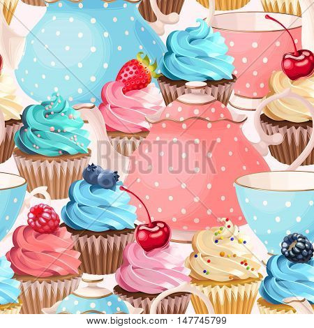 Teacups, teapots and cupcakes vector seamless background