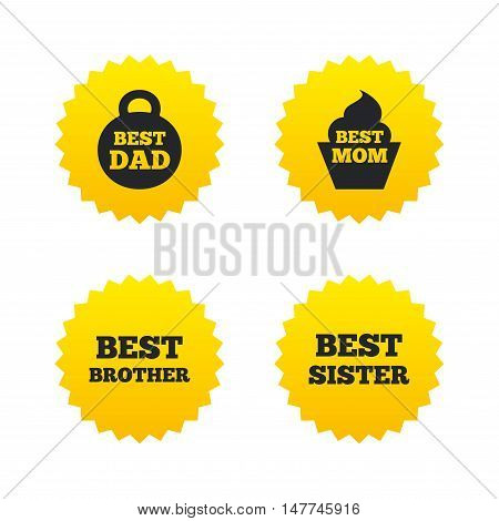 Best mom and dad, brother and sister icons. Weight and cupcake signs. Award symbols. Yellow stars labels with flat icons. Vector