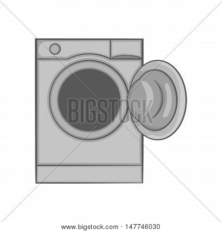 Washing machine with open hatch icon in black monochrome style isolated on white background. Wash symbol vector illustration