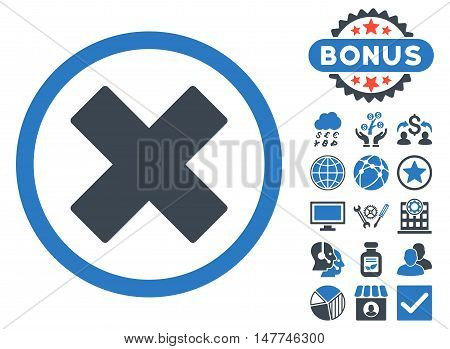 Delete X-Cross icon with bonus images. Vector illustration style is flat iconic bicolor symbols, smooth blue colors, white background.