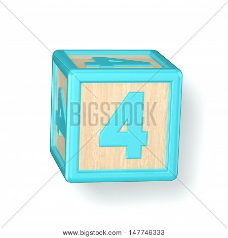 Number 4 Four Wooden Alphabet Blocks Font Rotated. 3D