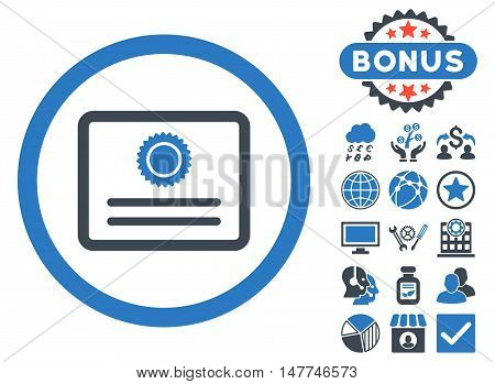 Diploma icon with bonus design elements. Vector illustration style is flat iconic bicolor symbols, smooth blue colors, white background.