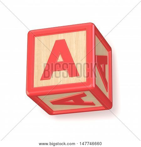 Letter A Wooden Alphabet Blocks Font Rotated. 3D