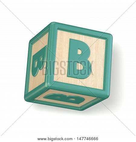Letter B Wooden Alphabet Blocks Font Rotated. 3D