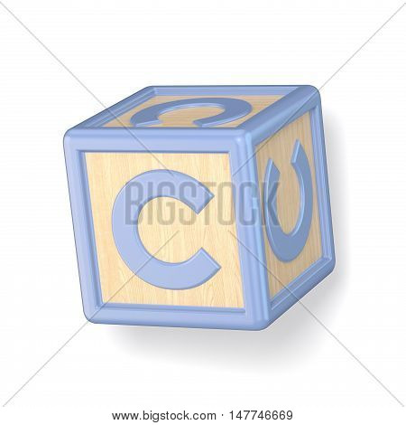Letter C Wooden Alphabet Blocks Font Rotated. 3D