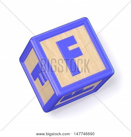 Letter F Wooden Alphabet Blocks Font Rotated. 3D