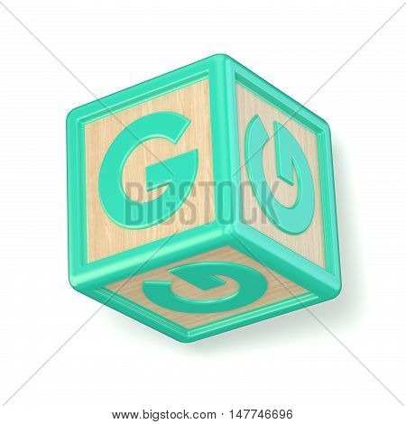 Letter G Wooden Alphabet Blocks Font Rotated. 3D