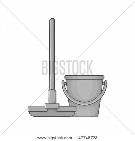Mop and bucket icon in black monochrome style isolated on white background. Cleaning symbol vector illustration