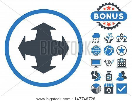 Directions icon with bonus symbols. Vector illustration style is flat iconic bicolor symbols, smooth blue colors, white background.