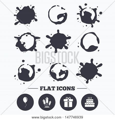Paint, coffee or milk splash blots. Birthday party icons. Cake and gift box signs. Air balloons and fireworks rockets symbol. Smudges splashes drops. Vector