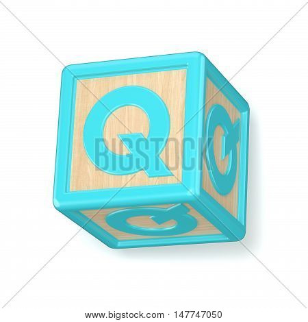 Letter Q Wooden Alphabet Blocks Font Rotated. 3D