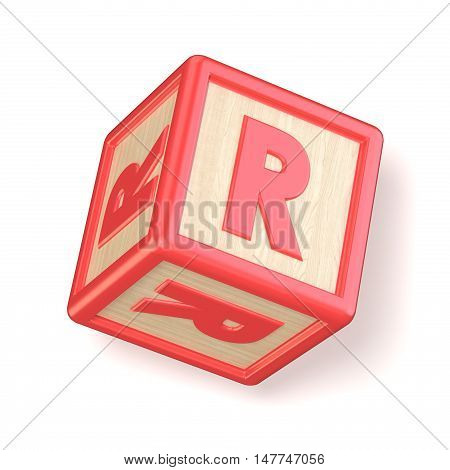 Letter R Wooden Alphabet Blocks Font Rotated. 3D
