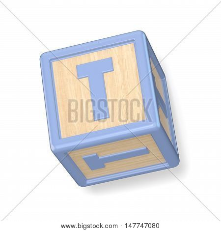 Letter T Wooden Alphabet Blocks Font Rotated. 3D
