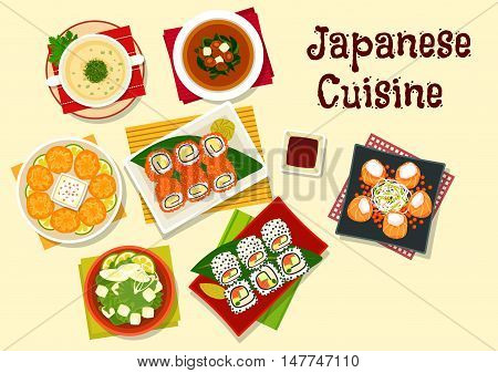 Japanese cuisine dinner icon with sushi rolls with caviar and sesame, wasabi and soy sauce, salmon rolls, shiitake and seaweed soup, spinach chicken soup, fried wontons with shrimp, tofu soup