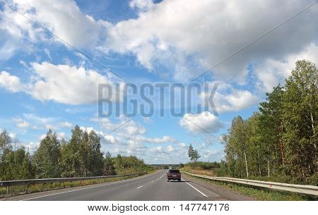 Road in the central part of Russia. Federal highway M5 Moscow - Chelyabinsk