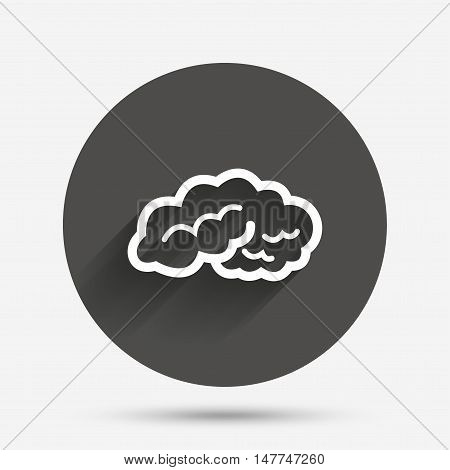 Brain sign icon. Human intelligent smart mind. Circle flat button with shadow. Vector