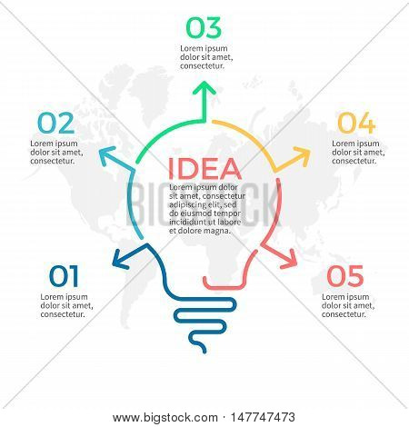 Light bulb infographic. Idea chart with 5 steps, parts.
