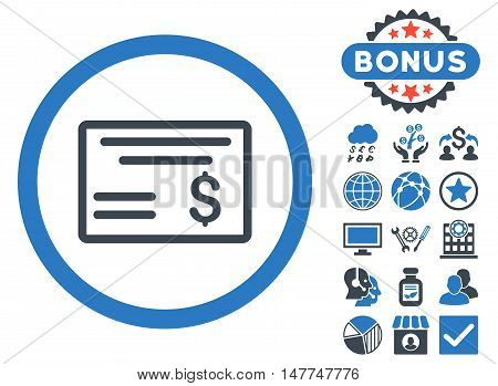 Dollar Cheque icon with bonus symbols. Vector illustration style is flat iconic bicolor symbols, smooth blue colors, white background.