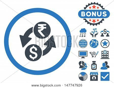 Dollar Rupee Exchange icon with bonus elements. Vector illustration style is flat iconic bicolor symbols, smooth blue colors, white background.