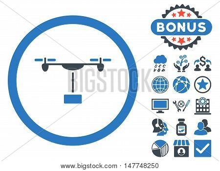 Drone Shipment icon with bonus pictures. Vector illustration style is flat iconic bicolor symbols, smooth blue colors, white background.