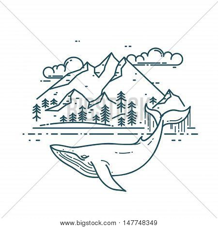 Huge Whale with mountains landscape. Nature exploration poster. Modern flat linear vector illustration