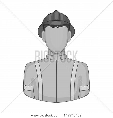 Fireman icon in black monochrome style isolated on white background. People symbol vector illustration