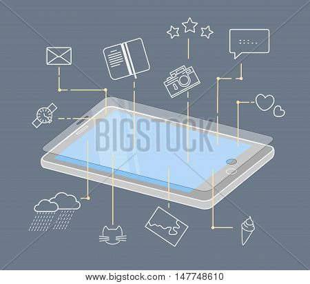 Phone display and mobile icons. Mobile application in use. Flat linear vector illustration