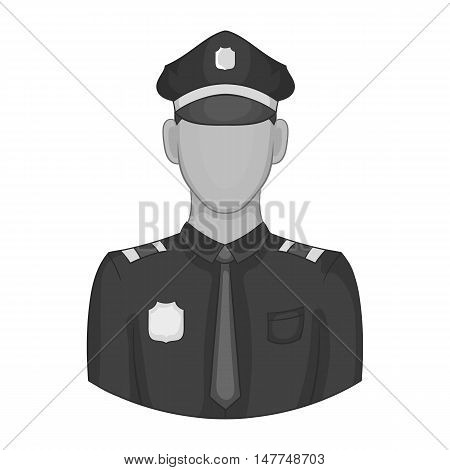 Policeman icon in black monochrome style isolated on white background. Job symbol vector illustration