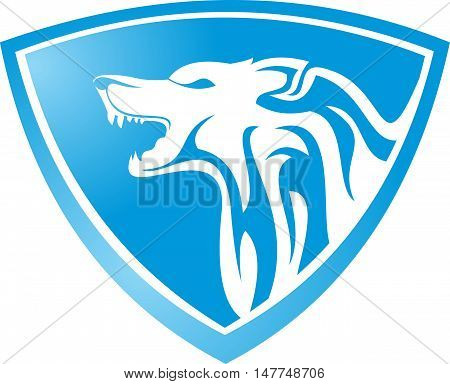 logo illustration blue shield with animal wolf roaring