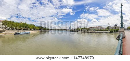 Panoramic view of Rhone river in sunny summer day. Lyon city Auvergne-Rhone-Alpes region France