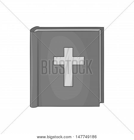 Bible icon in black monochrome style isolated on white background. Religion symbol vector illustration