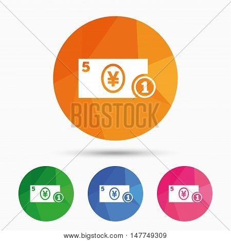 Cash sign icon. Yen Money symbol. JPY Coin and paper money. Triangular low poly button with flat icon. Vector