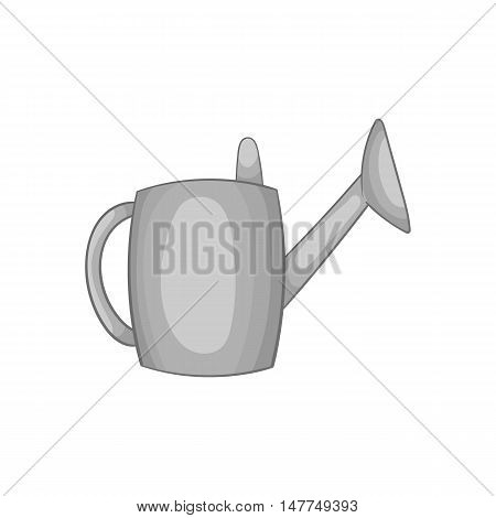 Watering can icon in black monochrome style isolated on white background. Gardening symbol vector illustration