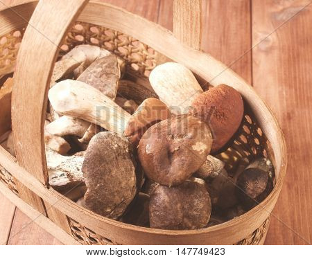Mushrooms in basket on wooden background. close-up