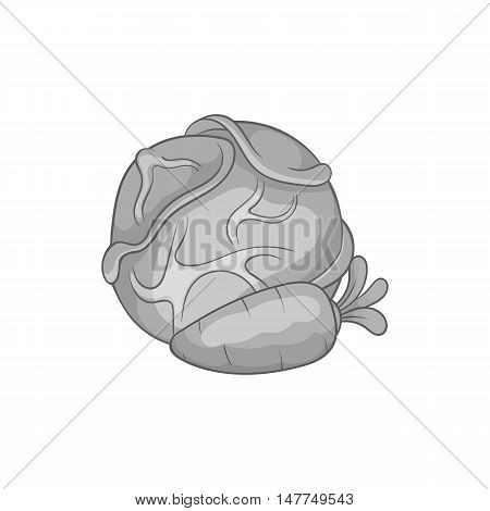 Cabbage and carrots icon in black monochrome style isolated on white background. Vegetables symbol vector illustration