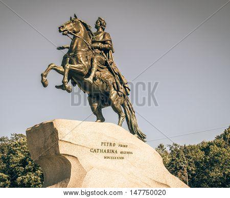 equestrian statue of Peter I on Senat square.