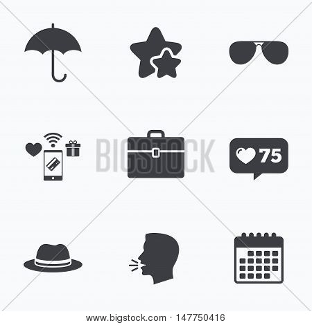 Clothing accessories icons. Umbrella and sunglasses signs. Headdress hat with business case symbols. Flat talking head, calendar icons. Stars, like counter icons. Vector