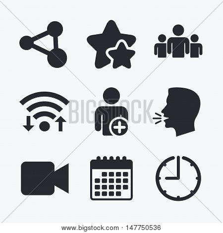 Group of people and share icons. Add user and video camera symbols. Communication signs. Wifi internet, favorite stars, calendar and clock. Talking head. Vector