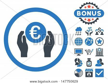 Euro Insurance Hands icon with bonus images. Vector illustration style is flat iconic bicolor symbols, smooth blue colors, white background.