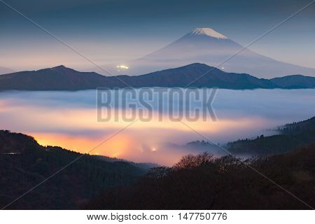 Mt.fuji and sea of mist above lake ashi at Hakone in autumn early morning