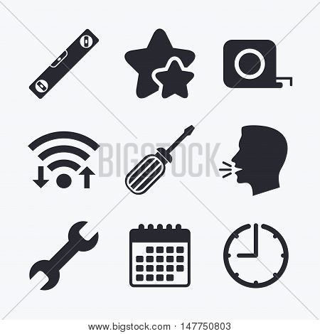 Screwdriver and wrench key tool icons. Bubble level and tape measure roulette sign symbols. Wifi internet, favorite stars, calendar and clock. Talking head. Vector