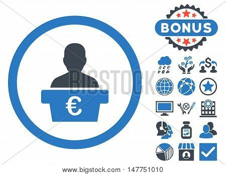 Euro Politician icon with bonus pictogram. Vector illustration style is flat iconic bicolor symbols, smooth blue colors, white background.