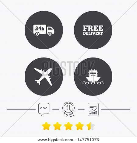 Cargo truck and shipping icons. Shipping and free delivery signs. Transport symbols. 24h service. Chat, award medal and report linear icons. Star vote ranking. Vector