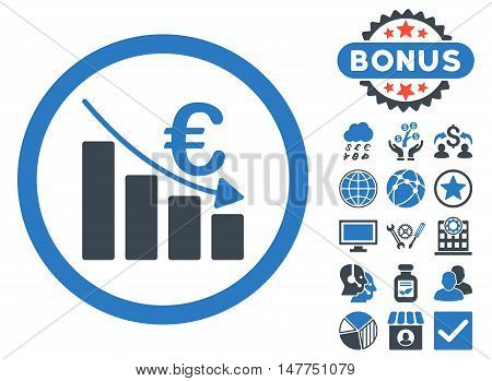 Euro Recession icon with bonus pictogram. Vector illustration style is flat iconic bicolor symbols, smooth blue colors, white background.