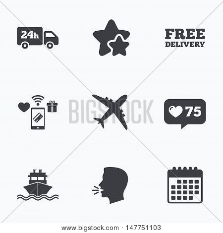 Cargo truck and shipping icons. Shipping and free delivery signs. Transport symbols. 24h service. Flat talking head, calendar icons. Stars, like counter icons. Vector