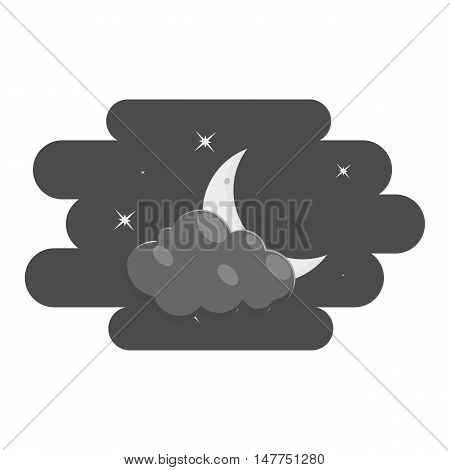 Clouds and moon icon in black monochrome style isolated on white background. Night sky symbol vector illustration